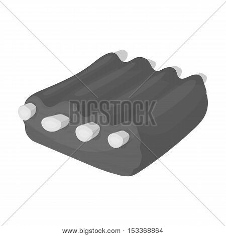 Pork ribs icon in monochrome style on white background. Meats symbol stock vector illustration
