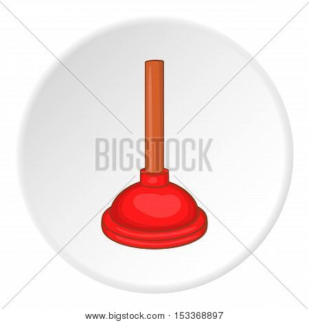 Red cup plunger icon. Cartoon illustration of red cup plunger vector icon for web