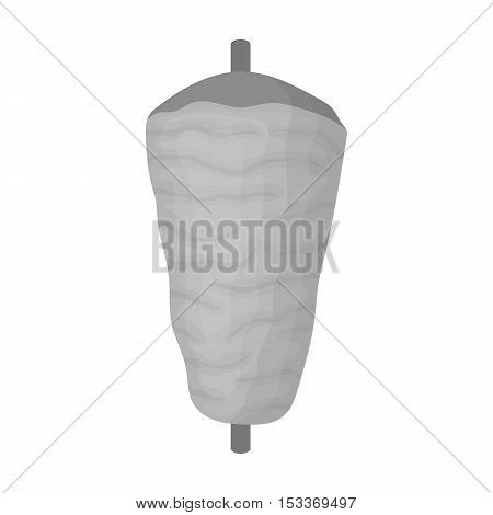 Doner kebab icon in monochrome style isolated on white background. Meats symbol vector illustration