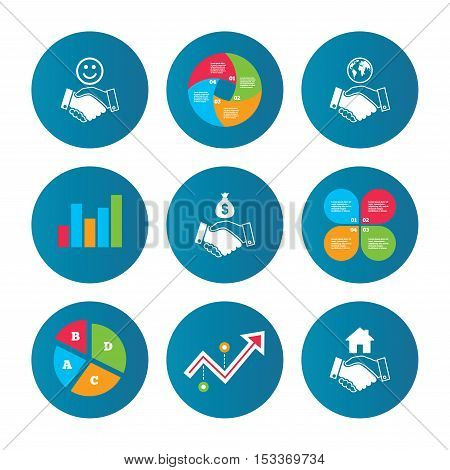 Business pie chart. Growth curve. Presentation buttons. Handshake icons. World, Smile happy face and house building symbol. Dollar cash money bag. Amicable agreement. Data analysis. Vector
