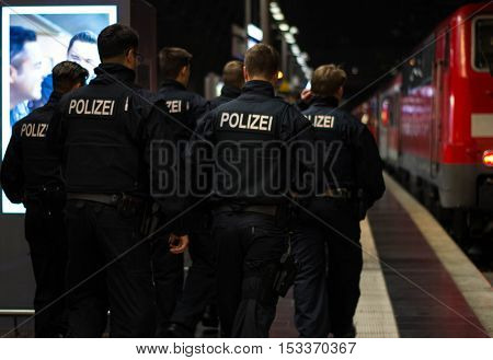 Frankfurt am Main, Hessen, Germany - October 25, 2016: Policemen patrolling in Frankfurt am Main Hauptbahnhof
