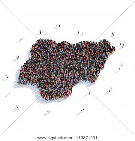 Large and creative group of people gathered together in the form of a map Nigeria , a map of the world. 3D illustration, isolated against a white background. 3D-rendering.