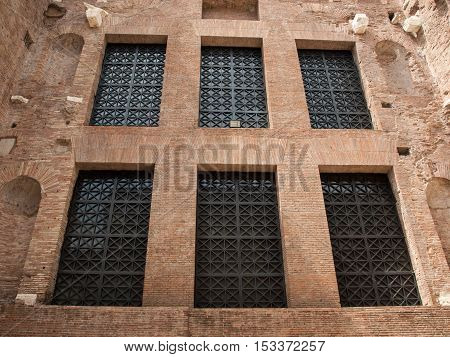 ROME ITALY - JUNE 12 2015: The baths of Diocletian (Thermae Diocletiani) in Rome. Italy