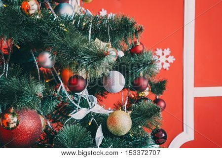 Eautiful New Year Red Room With Decorated Christmas Tree. The Idea For Postcards. Soft Focus. Shallo