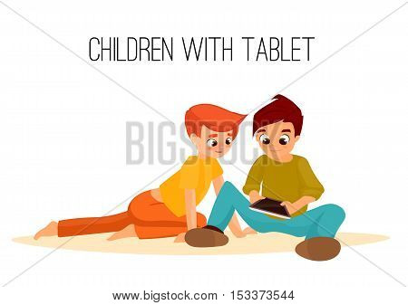 Children boys played in tablet. children sit and chat on Internet. gadget addiction. video games. cartoon character. internet addiction