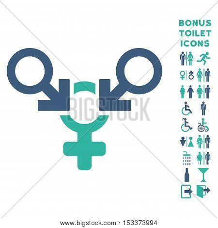 Polyandry icon and bonus male and lady toilet symbols. Vector illustration style is flat iconic bicolor symbols, cobalt and cyan colors, white background.