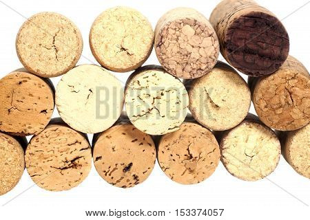 Wine wooden corks isolated on a  white background