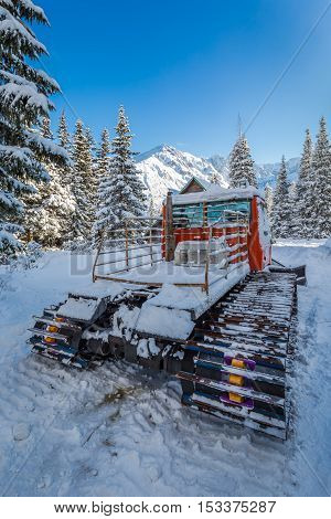 Snow Groomer In Winter In Tatra Mountains, Poland