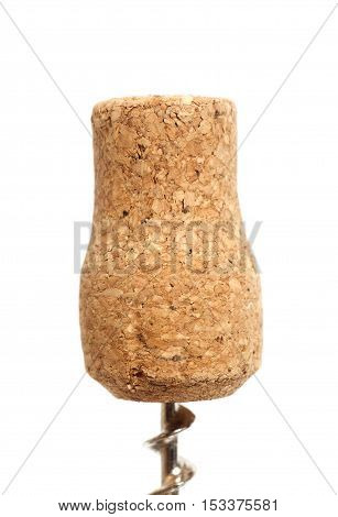 Close-up of cork on corkscrew isolated on white background