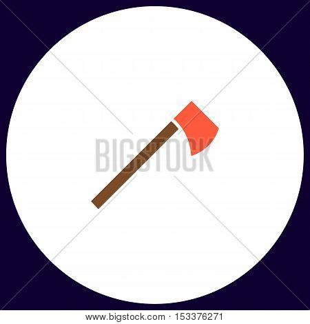hatchet Simple vector button. Illustration symbol. Color flat icon