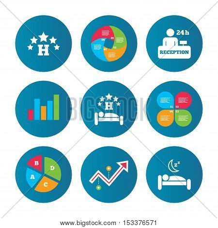 Business pie chart. Growth curve. Presentation buttons. Five stars hotel icons. Travel rest place symbols. Human sleep in bed sign. Hotel 24 hours registration or reception. Data analysis. Vector