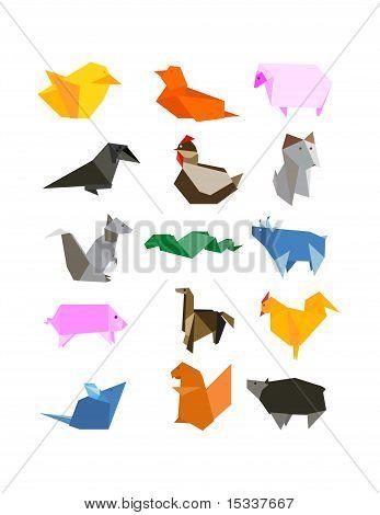 Origami Country Farm Animals Icon Set