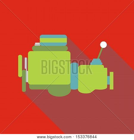 Car gearbox icon. Flat illustration of car gearbox vector icon for web isolated on red background