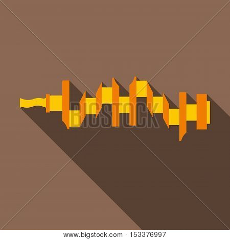 Crankshaft icon. Flat illustration of crankshaft vector icon for web isolated on coffee background