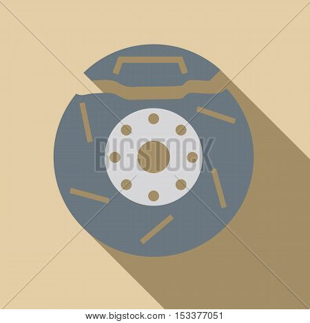 Brake disc icon. Flat illustration of brake disc vector icon for web isolated on beige background