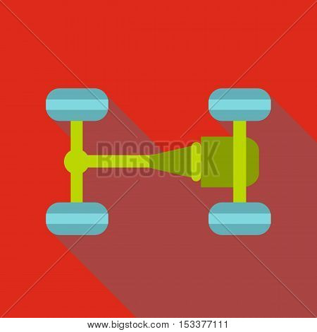 Car chassis icon. Flat illustration of car chassis vector icon for web isolated on red background