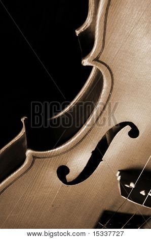 Close-up fragment of violin on black
