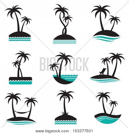 set of labels with palm trees silhouette on island