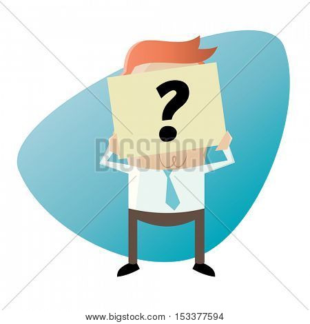 businessman hiding his face behind a question mark note