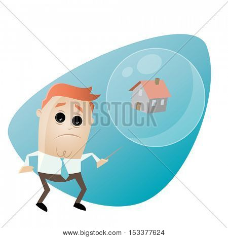 concerned businessman with house in a soap bubble and a needle