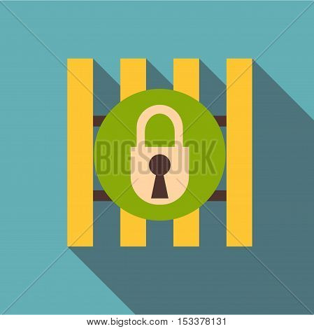 Iron bars door with padlock icon. Flat illustration of iron bars door with padlock vector icon for web isolated on baby blue background