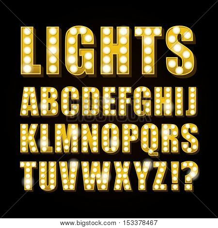 Vector yellow neon lamp letters font show casino and teather
