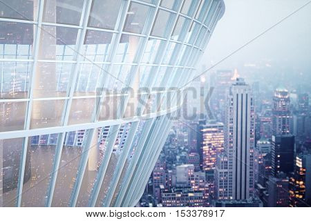 See through glass building exterior on night city background. 3D Rendering