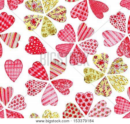 Flowers collected from the different patchwork hearts. Watercolor seamless pattern.