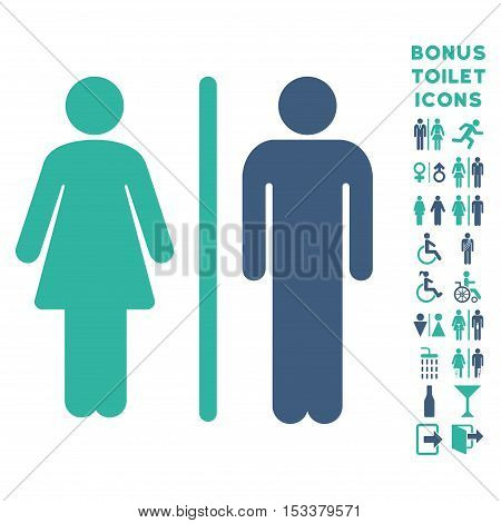 WC Persons icon and bonus gentleman and female restroom symbols. Vector illustration style is flat iconic bicolor symbols, cobalt and cyan colors, white background.