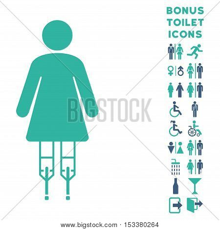 Woman Crutches icon and bonus male and lady lavatory symbols. Vector illustration style is flat iconic bicolor symbols, cobalt and cyan colors, white background.