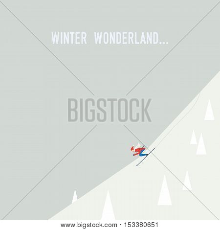 Skiing poster illustration vector. Downhill skier going down the slope at speed. Flat design retro cartoon. Eps10 vector illustration.