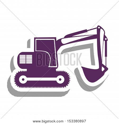 purple backhoe heavy machinery pictogram icon image vector illustration