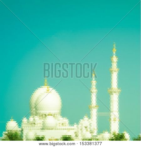 Sheikh Zayed Grand Mosque in Abu Dhabi - triangulated illustration
