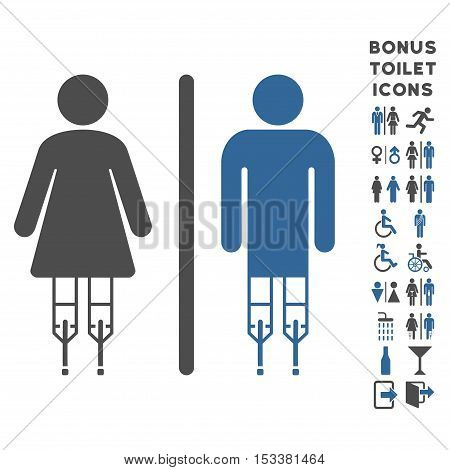Disabled WC Persons icon and bonus man and lady WC symbols. Vector illustration style is flat iconic bicolor symbols, cobalt and gray colors, white background.