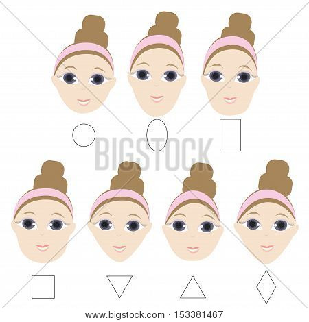 Different woman face shapes. Oval, round, square, triangle rectangle face types
