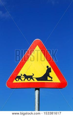 Swedish road sign beware of sledge dog team on blue sky.