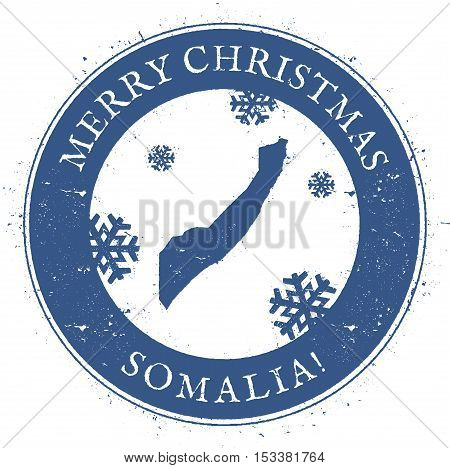 Somalia Map. Vintage Merry Christmas Somalia Stamp. Stylised Rubber Stamp With County Map And Merry