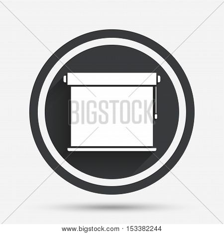 Louvers rolls sign icon. Window blinds or jalousie symbol. Circle flat button with shadow and border. Vector
