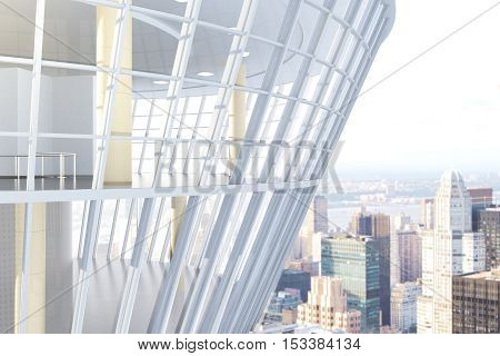 See through glass construction exterior on city background. 3D Rendering