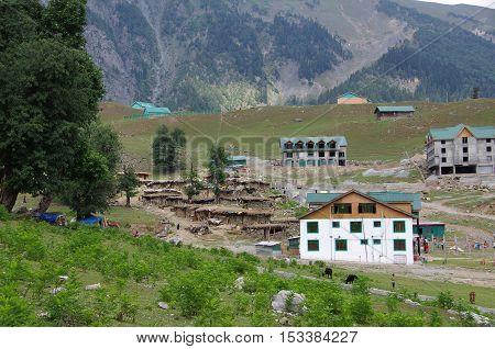 Nomadic village in Sonamarg in Kashmir, in India