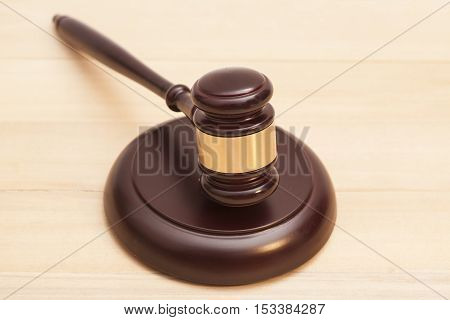 Wooden Judge Gavel And Soundboard On Wooden Table