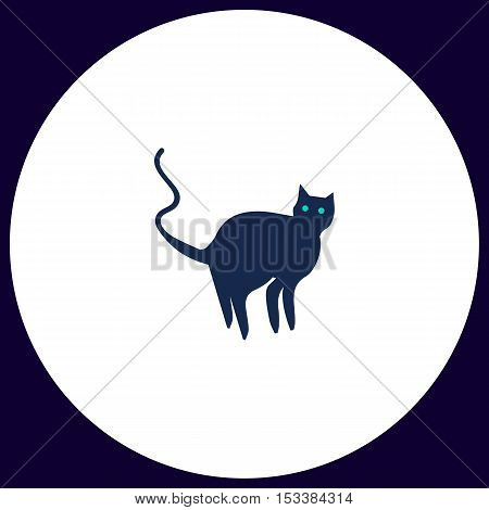 Evil Cat Simple vector button. Illustration symbol. Color flat icon