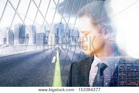 Sad pensive businessman behind iron wire mesh on city background. Freedom concept