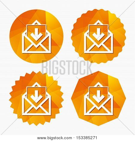 Mail icon. Envelope symbol. Inbox message sign. Mail navigation button. Triangular low poly buttons with flat icon. Vector