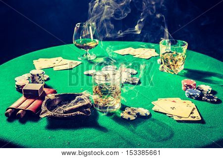 Chips And Cards In Vintage Gambling Table