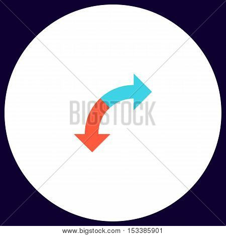 U-Turn Simple vector button. Illustration symbol. Color flat icon