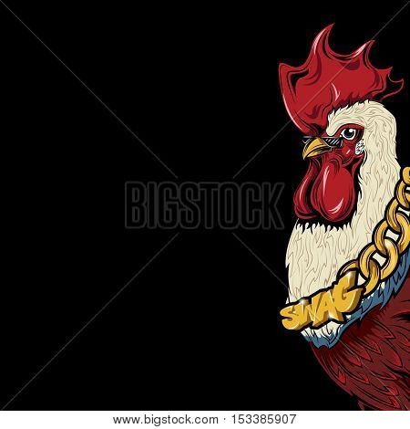 SWAG rooster with a gold chain cock. HIPSTER print. Cock modern street style attributes. Vector art. Cock head for poster. Symbol of the bad rap artist