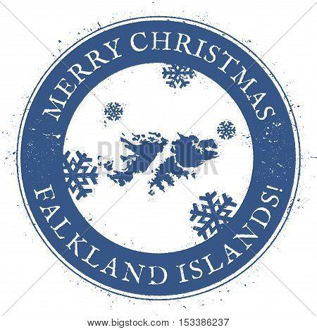 Falkland Islands (malvinas) Map. Vintage Merry Christmas Falkland Islands (malvinas) Stamp. Stylised