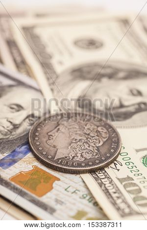 US dollar bills and coin ,background money from USA