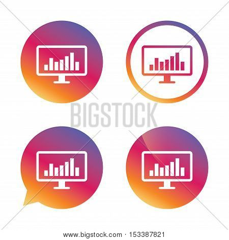 Computer monitor sign icon. Market monitoring. Gradient buttons with flat icon. Speech bubble sign. Vector